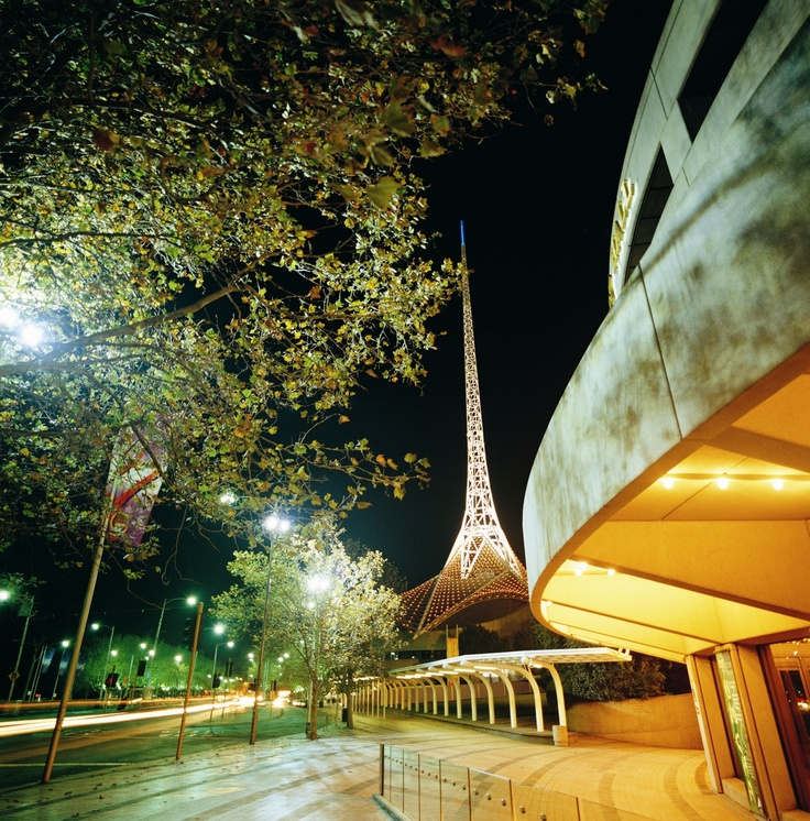Hamer Hall & Theatres building Spire, two main buildings of the Melbourne Arts centre