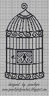 Penelopis' cross stitch freebies: cage/klatka