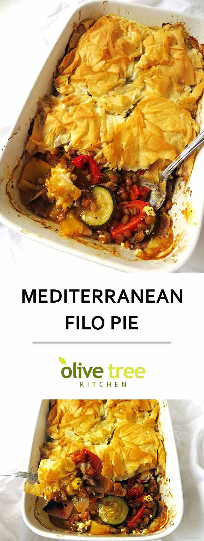 Light and crispy filo pastry surrounds a delicious medley of healthy roast vegetables, lentils and feta cheese in this Mediterranean Filo Pie!