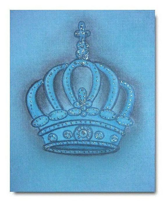 Prince Crown Wall Decoration : Baby boy crown prince art nursery decor wall by