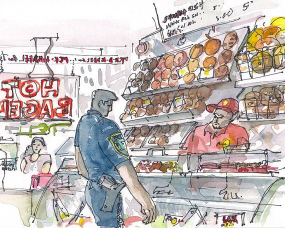 New York Bagels -New York's finest at the corner bagel store. Watercolor and ink sketch #urbansketch
