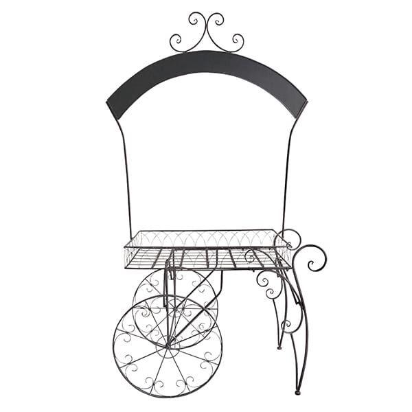 Chelsey- Wrought Iron Chalkboard Garden Cart    Wrought iron garden cart with unique chalkboard arch. Dimensions: 36 x 22 x 84