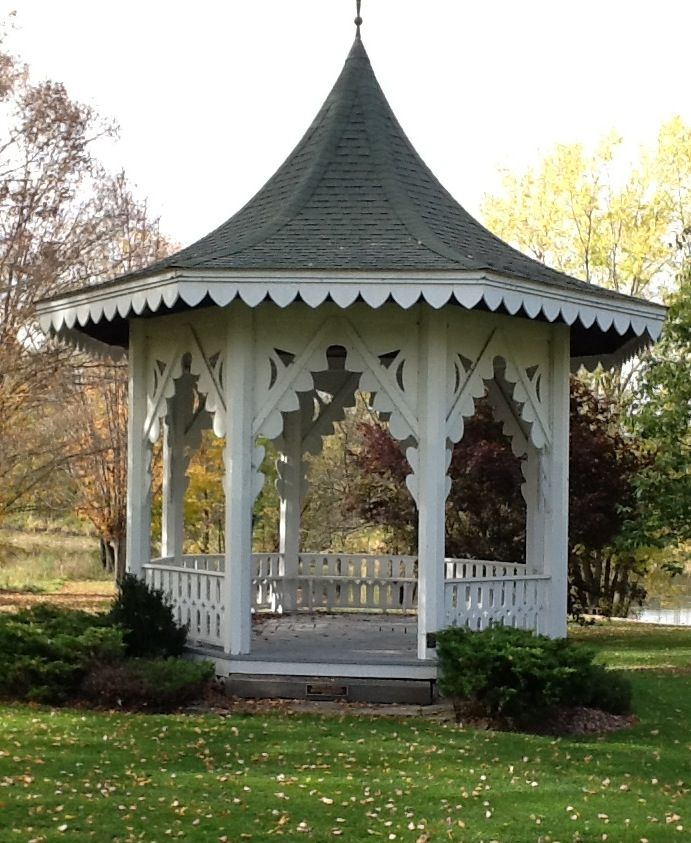 Victorian gazebo.  I would love this in the middle of my flower garden