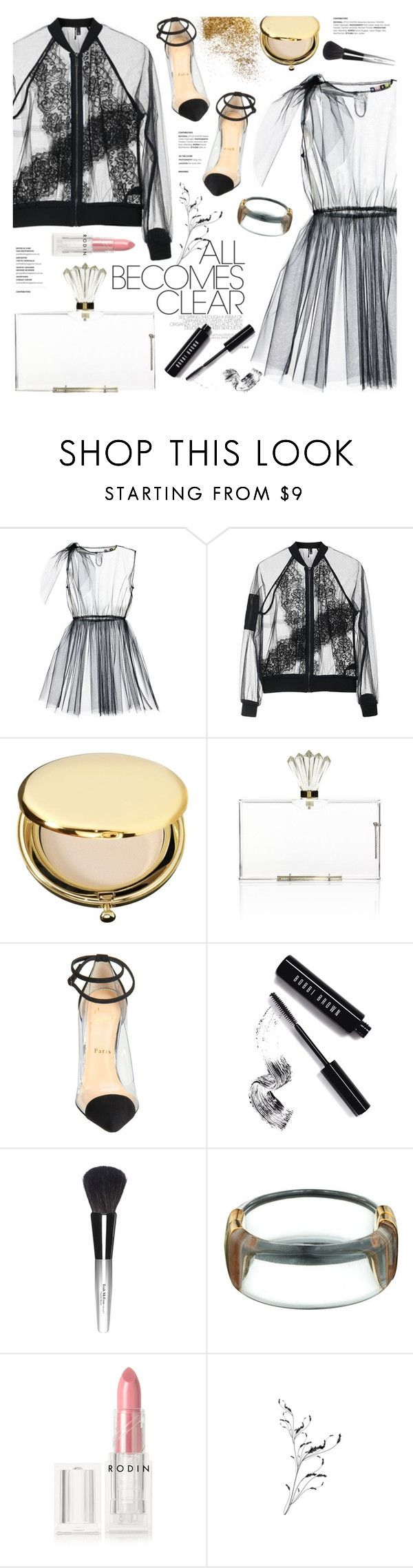 """""""it's all clear now"""" by jesuisunlapin ❤ liked on Polyvore featuring MSGM, Topshop, Estée Lauder, Charlotte Olympia, Christian Louboutin, Bobbi Brown Cosmetics, Trish McEvoy and Rodin"""