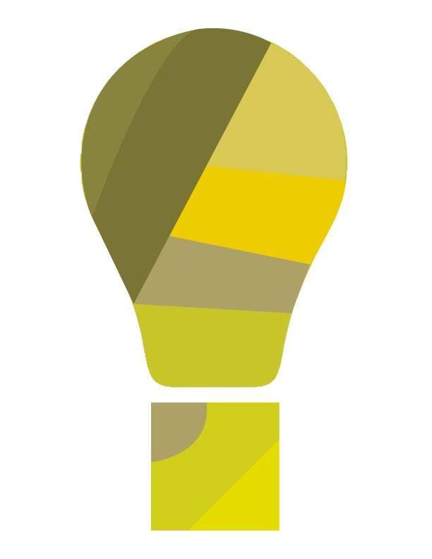 Logo vetorizado. Mistura de exclamação com lâmpada, simbolizando ideia planejada (ciente) e ideia percebida (público alvo).