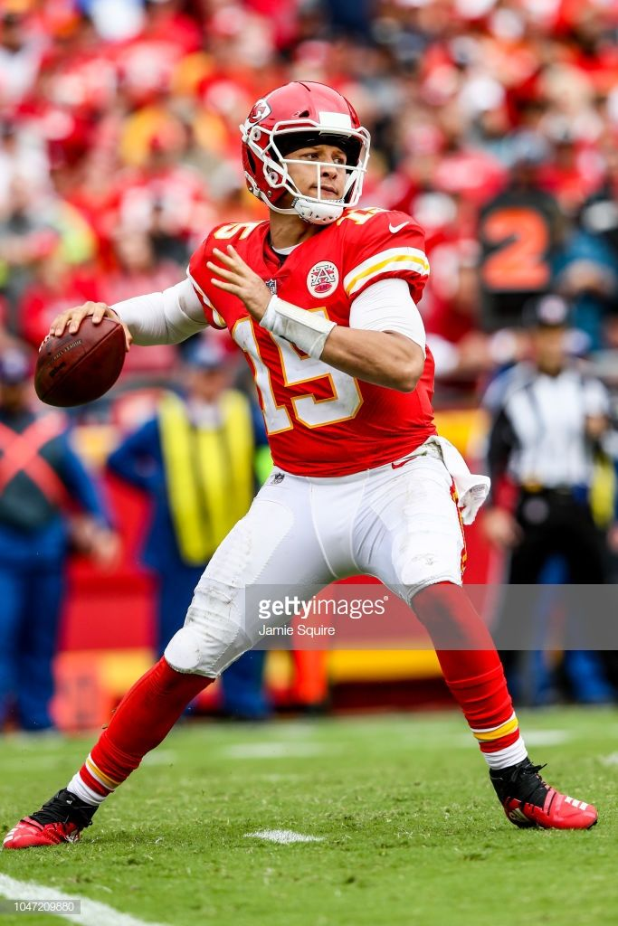 Patrick Mahomes of the Kansas City Chiefs throws a pass