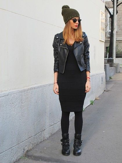 Anyone can copy this: Pair your favorite LBD with a leather jacket, comfy black boots and a knit hat to go from dressy to wear every day!   Women's fall winter fashion 2013 2014