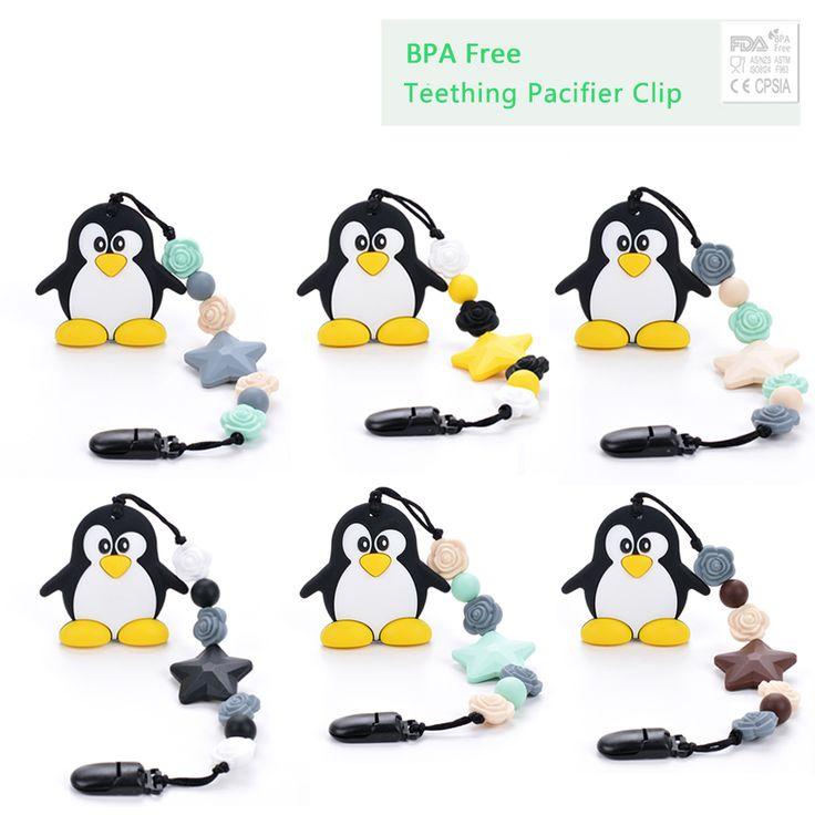 ペンギンシリコーン歯が生えるおもちゃおしゃぶりクリップシリコーンペンダントネックレスフラワービーズ赤ちゃんおしゃぶりおしゃぶりクリップホルダー安全