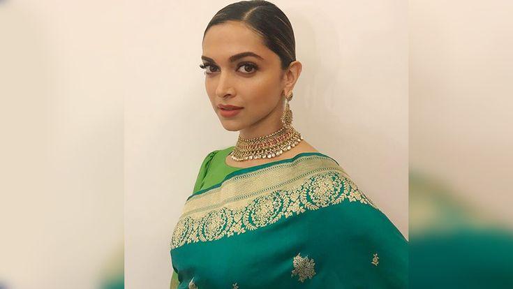 #DeepikaPadukone Looks Magnificent In Her Green Sari But Twitter Not Loving It!