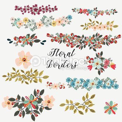 Arte vetorial: coleção de bordas de flores ideal para salvar os cartões de data
