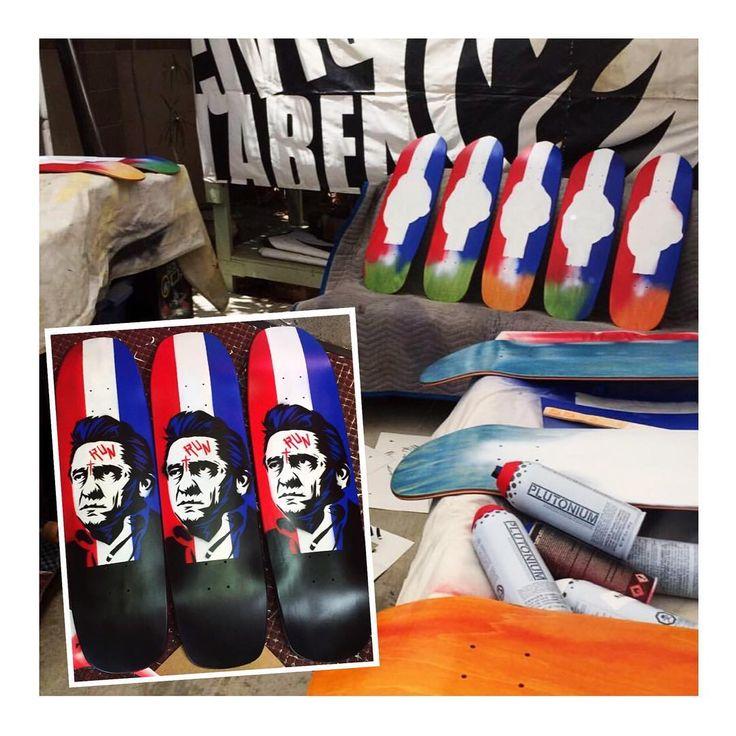 Johnny Cash custom skateboard decks by Jason Adams #PlutoniumPaint #SprayPaint #MadeInTheUSA