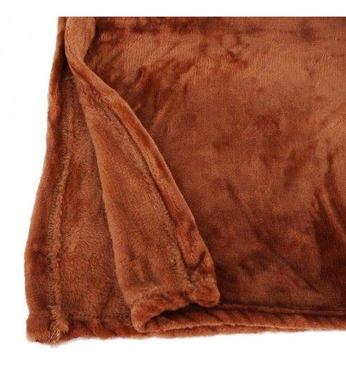 FLEECE BLUNKET IN BROWN COLOR 150X180