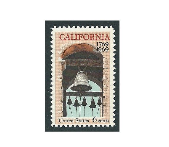 Pack of 10 Vintage Unused US Postage stamps of the:  6 cent 200th Anniversary of California Settlement issue. Issued July 16, 1969 Scott catalog #: 1373  The 6-cent California Bicentennial commemorative stamp was issued July 16, 1969, at San Diego, California. It was here in 1769 that a Spanish expedition under Governor Gaspar de Portola, accompanied by Father Junipero Serra, began colonization.  This stamp, designed by Leonard Buckley and Howard C. Mildner of the Bureau of Engraving and…