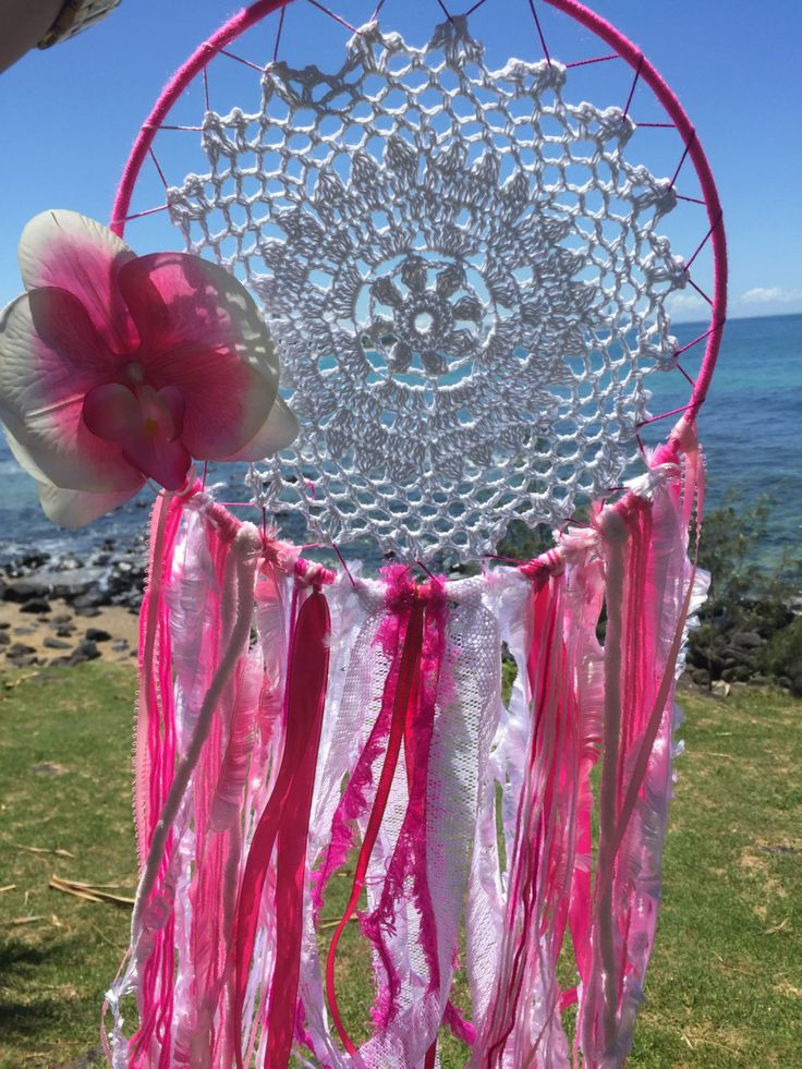 Dreamcatcher Hand Made - Pink and White with Orchid Flower by DreamcatchersByIsale on Etsy