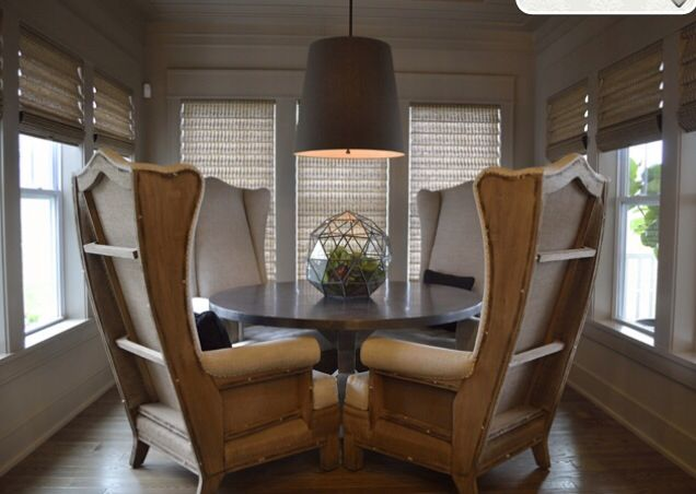 Tall wingback chairs, dining table | Metal dining room ...