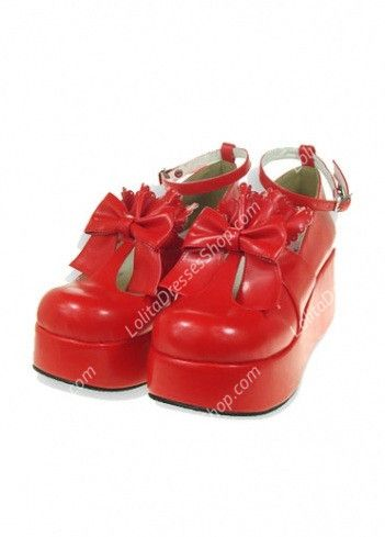Cheap Cute PU Red High Heel Bowknot Buckle Straps Lolita Shoes Sale At Lolita Dresses Online Shop