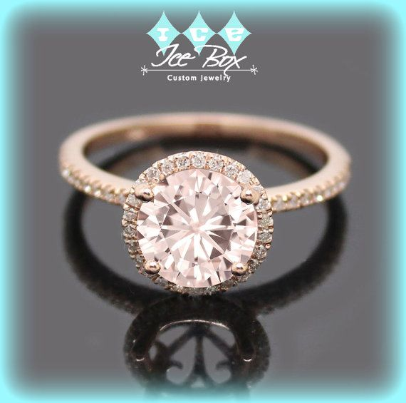 Pink Moissanite Engagement Ring 1.5ct Round Peach Pink Moissanite in a 14k Rose Gold Diamond Halo Setting - Nice Morganite alternative  $1490