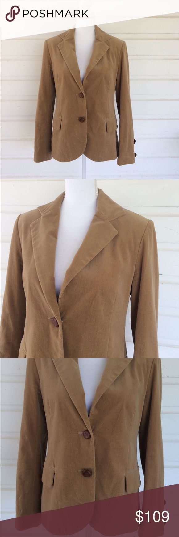 Anthro Lauren Moffatt Velvet Camel Blazer Scrumptiously preppy in all the right ways. Great for a polo game in chilly weather, a sophisticated school girl look (who doesn't want to channel Hermonie?) Excellent condition with cool leather button details. Dark tan, coffee camel color. Size large. Beautiful! Anthropologie Jackets & Coats Blazers