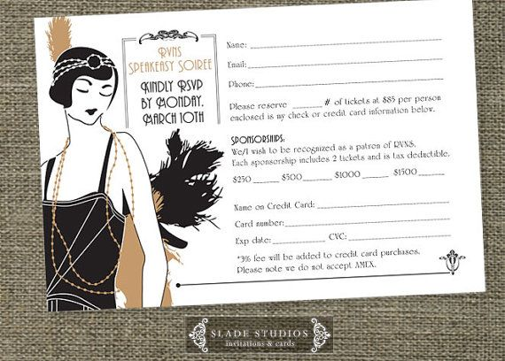 Great Gatsby Glamour 1920s Flapper Party RSVP by SladeStudios, $15.00