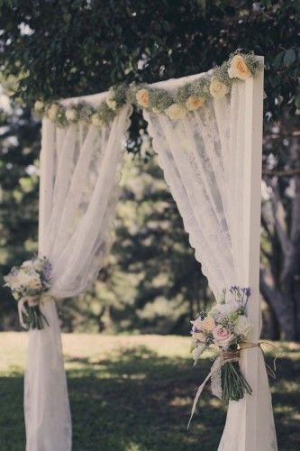 Lace Curtain Ceremony Backdrop For A Gorgeous English Garden Wedding Styling By Www Scoutandcharm