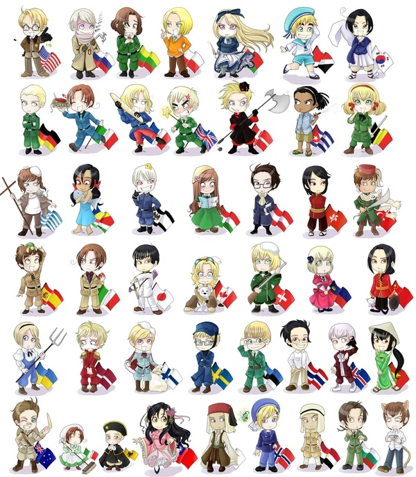 hetalia. an easier way to learn geography, history, and world politics :P