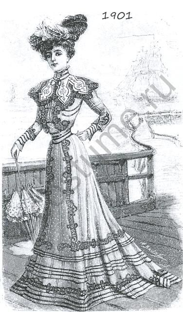 Женское платье из шелка в горошек с черным кружевом. 1901 год