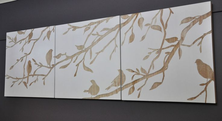 """Details About """"BIRDS IN SPRING""""-3 PANEL WALL ART-WHITE"""