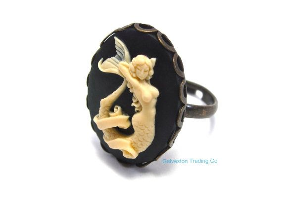 Mermaid Ring - Siren of the Sea - Nautical Jewelry - Cameo Accessory - Black and Ivory - Antique Gold - Pin Up / Pinup Girl - Tattoo Ring on Etsy, $12.00