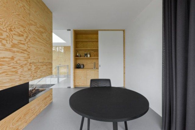 Wonderful Minimalist Home 09 Of Pine Plywood : Minimalist Home 09 Of Pine Plywood With White Blac Cupboard Table Chair Curtain Glass Door Stair And Ceramic Floor