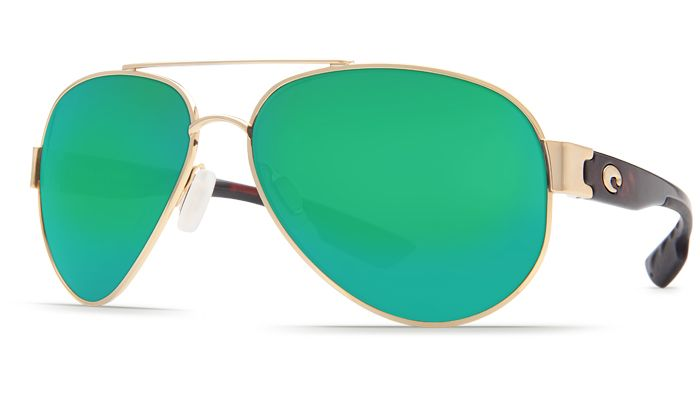 Costa Del Mar Southpoint aviators. Gold frames & mirror green lenses.