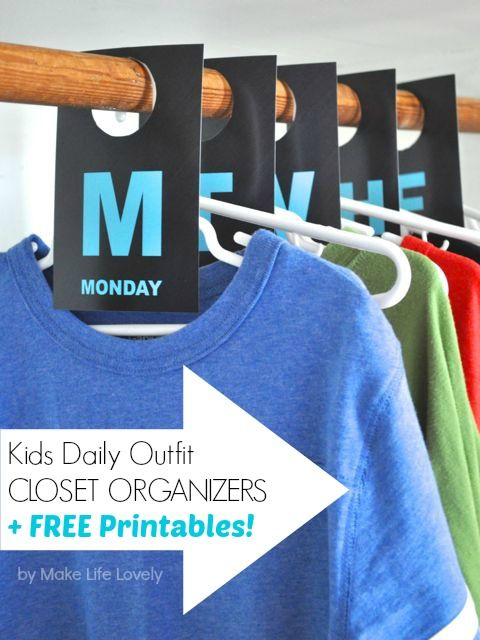 Kids Daily Outfit Hanging Closet Organizers + Free Printable - Make Life Lovely