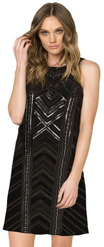 Miss Me Women's Black Sleeveless Embroidered Dress  - Country Outfitter