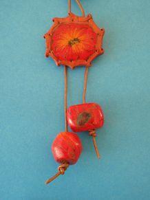 polymer clay flower pendant