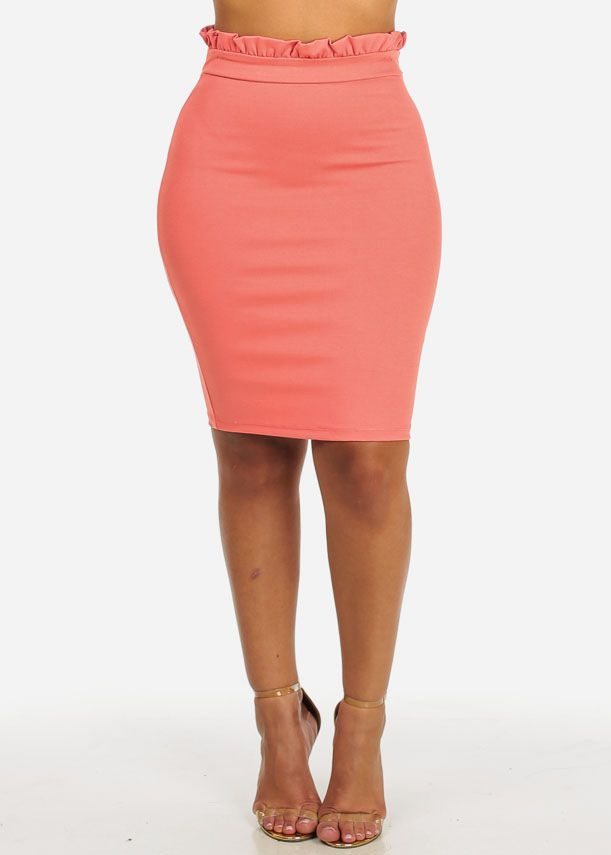 eedc829a0d High Waisted Solid Coral Ruffled Waist Slim Fit Pull On Trendy Skirt in  Skirts