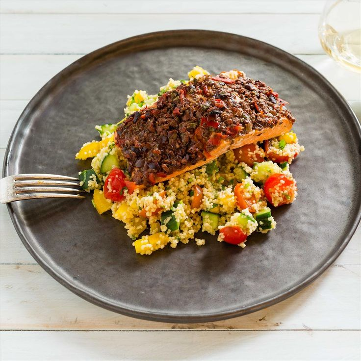 Olive-Baked Salmon with Mediterranean Couscous