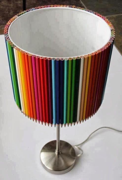 Bricolage e Decoração: Decorar um candeeiro/luminária com Lápis de cor