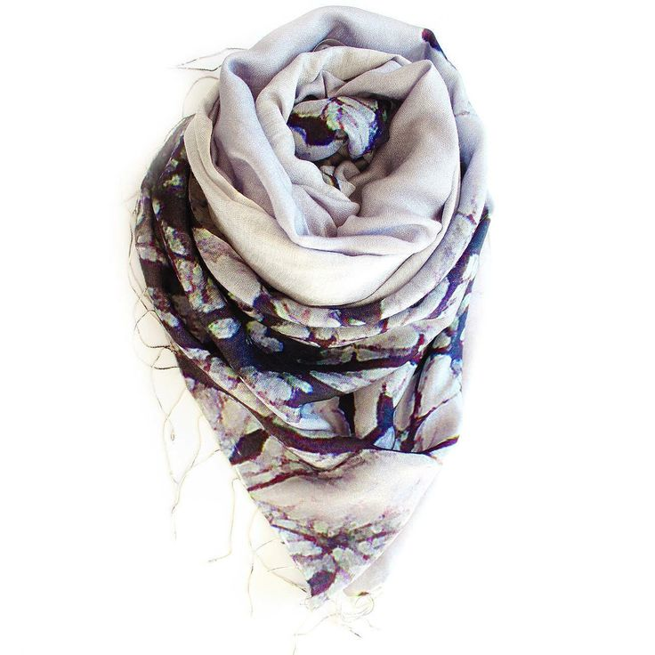 Uber soft luxurious woollen scarf fabric. Featuring nature photograph.