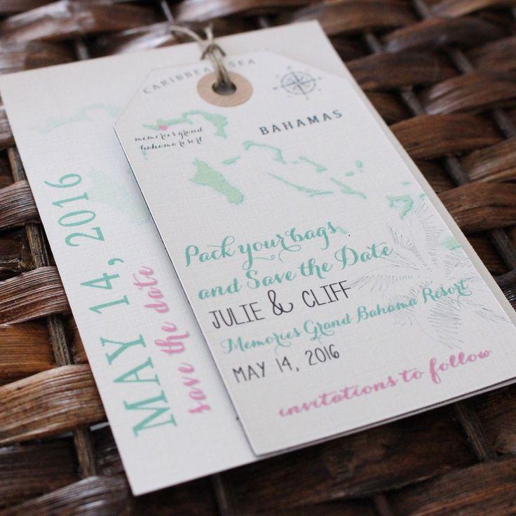 Wedding invitation Bahama Save the Date Luggage