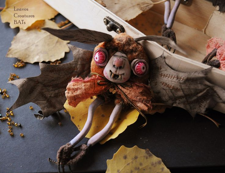 """Купить Летучие мыши Листики Серия """"Halloween"""" - мышь, крыса, крыска, шарнирная игрушка, крысеныш"""