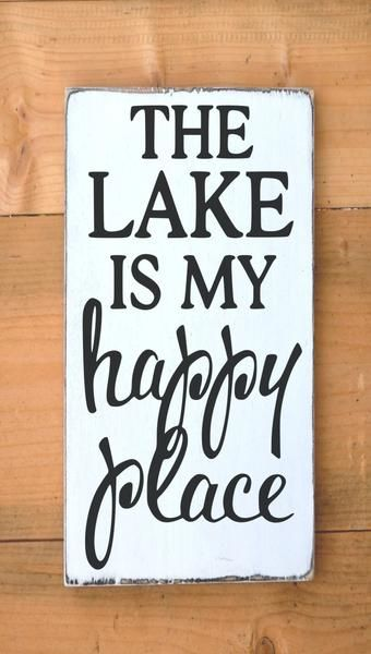 Lake House Decor Rustic Lake Sign The Lake Is My Happy Place Signs Quote Rustic Wood Signs Lakefront Lakeside Living Life Gift Cabin Home Wall Art Wooden Plaque