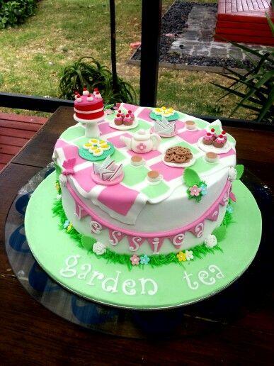 Top view garden tea cake