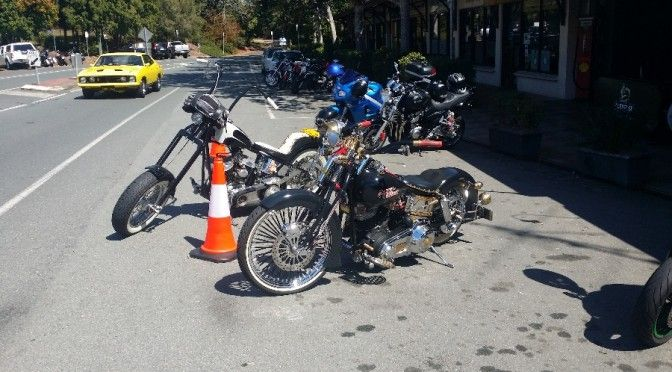 Choppers and muscle cars at Rick's Garage Palmwoods
