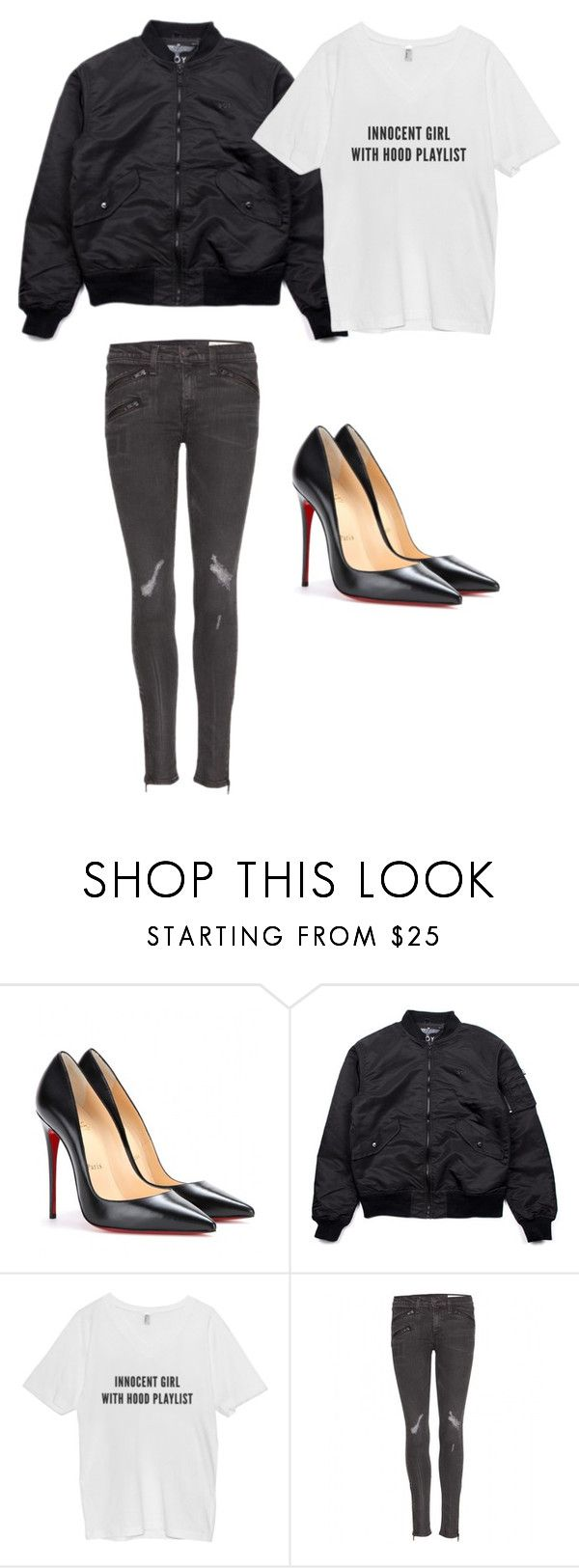 """Untitled #304"" by eaubleue ❤ liked on Polyvore featuring Christian Louboutin, BOY London and rag & bone"