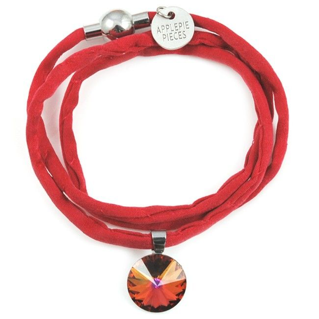 Polestar XL armband/ketting firestone #swarovski #applepiepieces #crystal #silk #jewelry