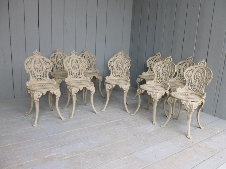 Set Of 10 Vintage Reclaimed Cast Iron Garden Chairs Buy