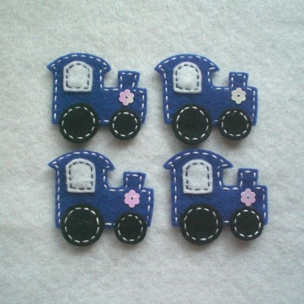 Handmade Train Felt Applique ( Royal Blue - Double Layer )