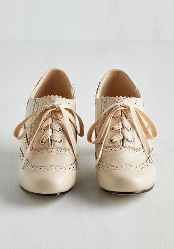 This item was picked by you in our Be the Buyer Program and will be sold exclusively online at ModCloth! Is today one of those days when you just can't help but strut the whole way through to bedtime? Perfect! These mid-heel shoes have the tendency to groove, too, so lace 'em up under your A-line skirt and sheer polka dotted blouse and start to swing it together in vanilla-hued vegan faux leather. You'll look classy and jazzy on the dancefloor you created out of every surface!