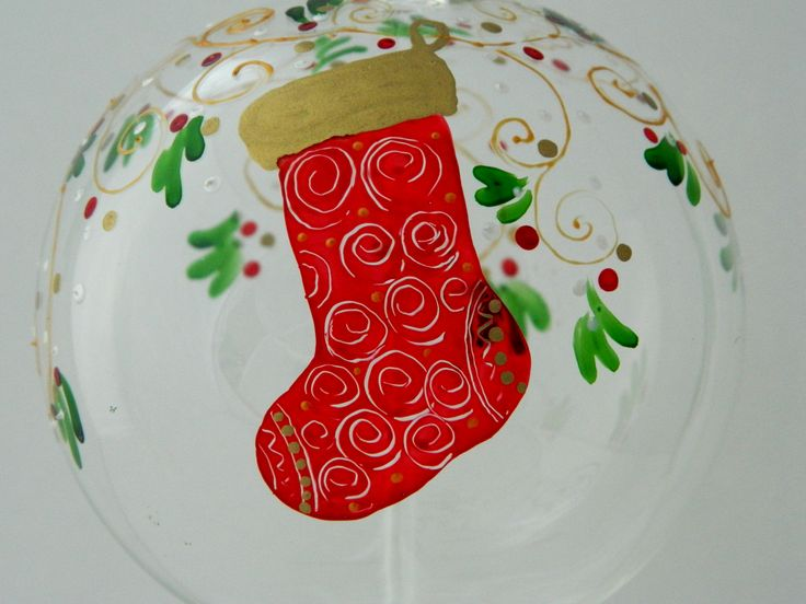 Hand painted glass Christmas ball decorated with a red and golden sock.  www.handmadesister.blogspot.com