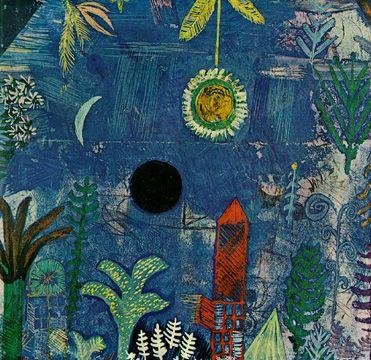 Paul Klee (1879-1940), Nächtliche Blumen (Versunkene Landschaft) [Nocturnal Flowers (Sunken Landscape)], 1918 (65). Watercolour. (Folkwang Museum, Essen)