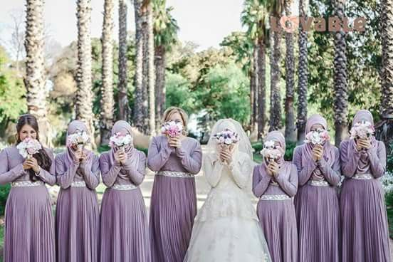 Muslim bride + purple bridesmaid